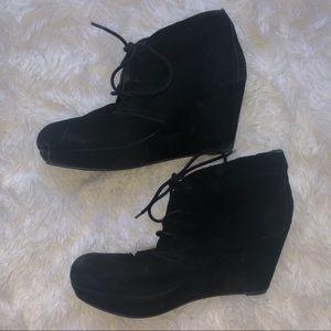 Black Wedge Ankle Bootie